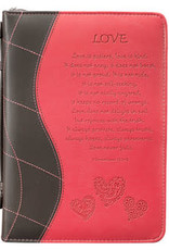 Bible Cover - Medium - Love Pink Faux Leather - 1 Corinthians 13 : 4-8