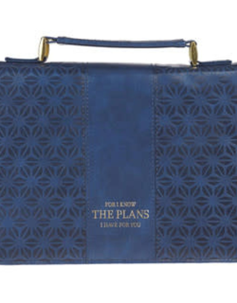 Bible Cover - Large - I Know the Plans Blue Faux Leather Fashion - Jeremiah 29:11