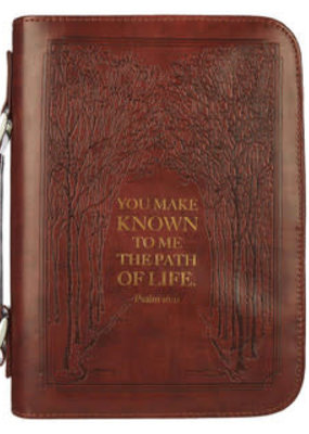 Bible Cover - The Path Of Life Classic Faux Leather Bible - Psalm 16:11