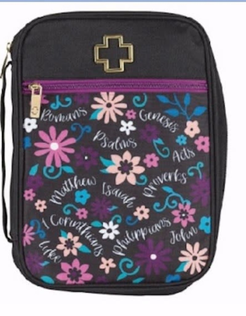 Bible Cover-Books Of The Bible-Large-Black Floral