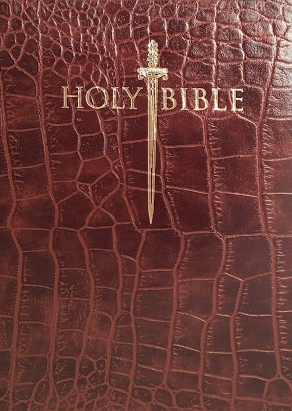 Whitaker House KJV Sword Study Bible-Giant Print-Walnut Alligator Bonded Leather Indexed