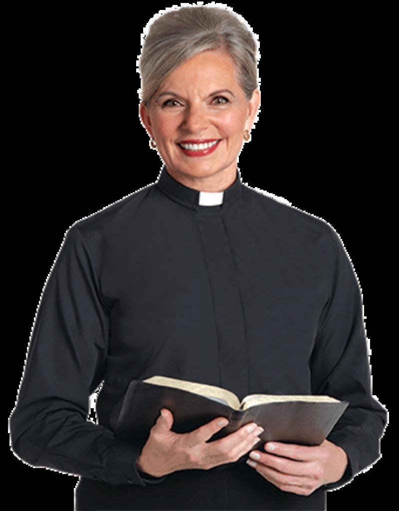Womens LS Black Tab Collar Clergy Shirt SW-104 20W