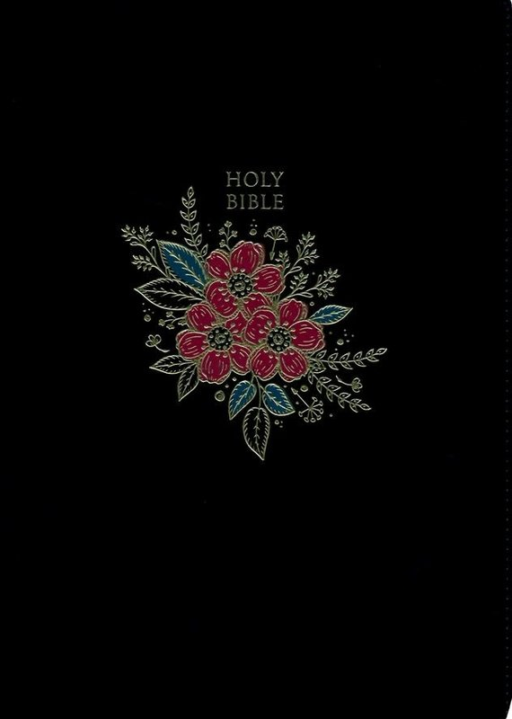 KJV Deluxe Reference Bible Super Giant Print, Black, Flower