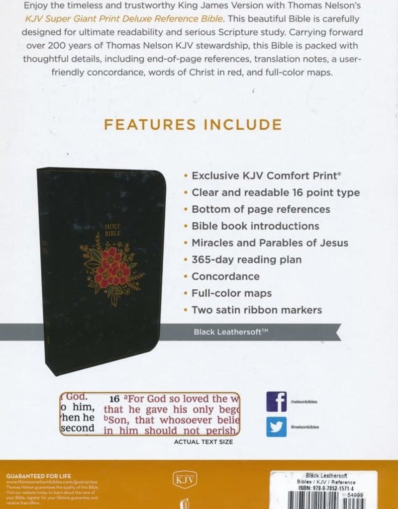KJV Deluxe Reference Bible Super Giant Print, Black, Flower