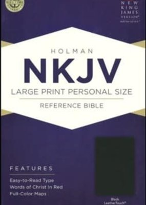 B & H Publishing NKJV Large Print Personal Size Reference Bible Black Leathertouch indexed