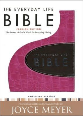 Faith Words Amplified Everyday Life Bible - Pink - espresso Bonded Leather