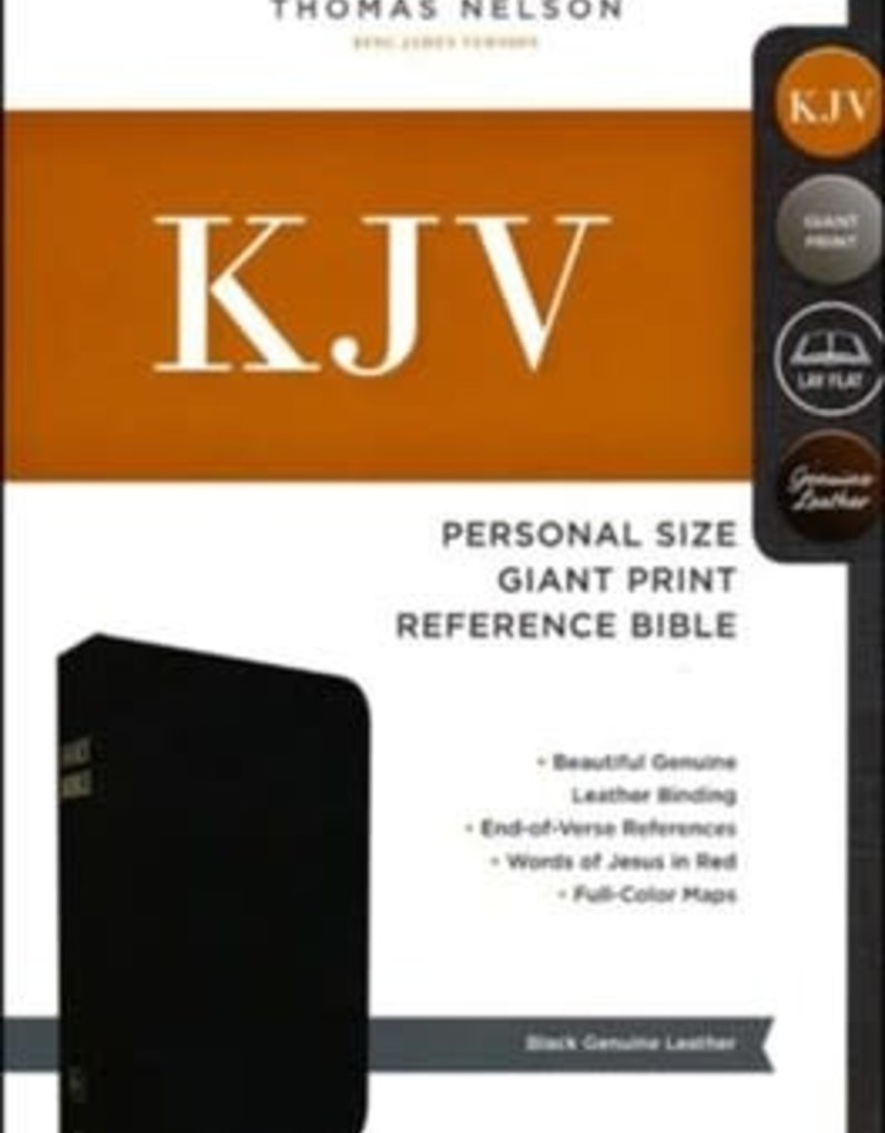 KJV Personal Size Giant Print Reference Bible-Black Genuine Leather