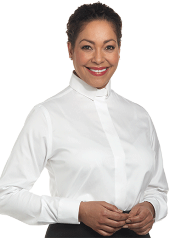 Womens LS White Tab Collar Clergy Shirt SW-111 24W