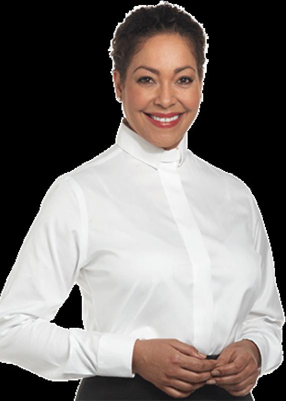Womens LS White Tab Collar Clergy Shirt SW-111 22W