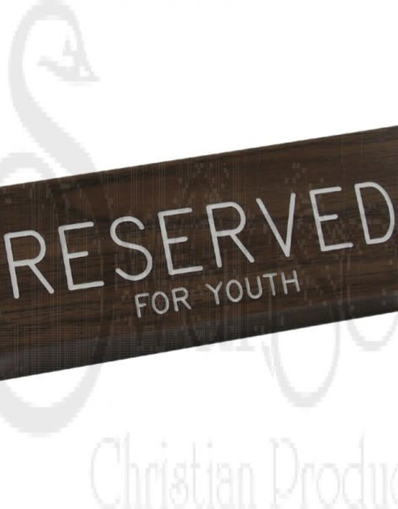 WALNUT GRAIN PEW SIGN RESERVED FOR YOUTH 3 X 6