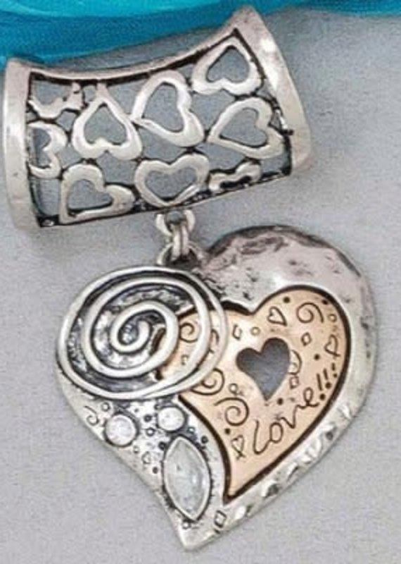 Howard's Jewelry Two-Tone Heart Scarf Slide