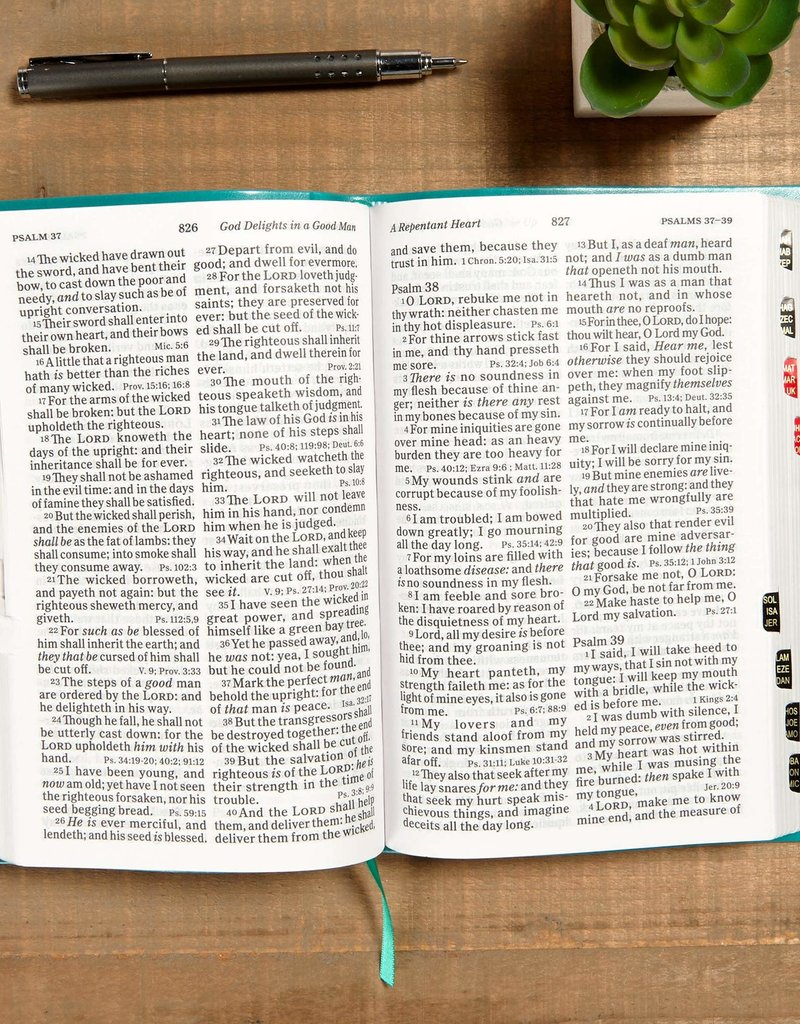 KJV Large Print Personal Size Reference Bible-Teal LeatherTouch Indexed