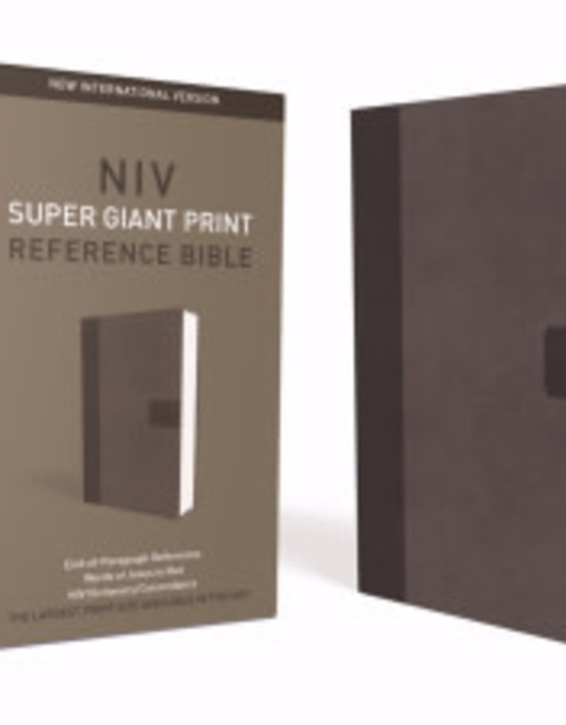 HarperCollinsPublishers NIV, Super Giant Print Reference Bible, Leathersoft, Gray, Red Letter Edition, Comfort Print
