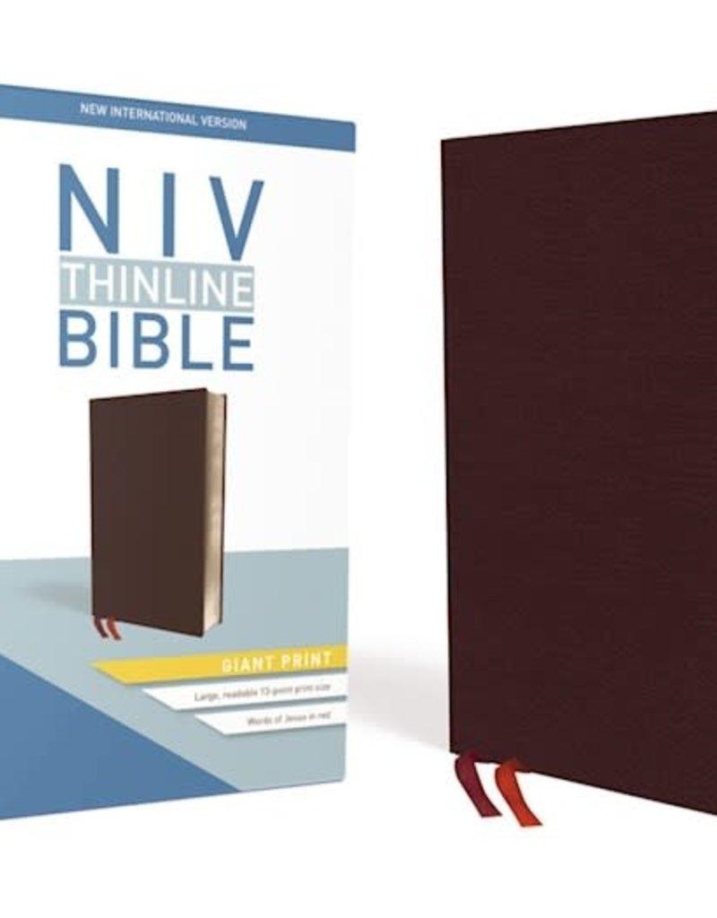 Zondervan NIV Thinline Bible/Giant Print (Comfort Print)-Burgundy Bonded Leather