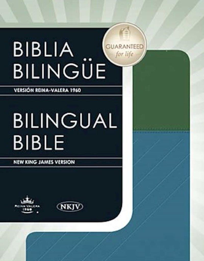 Editorial Vida Biblia Bilingue RVR 1960-NKJV, Piel Italiana Azul y Verde