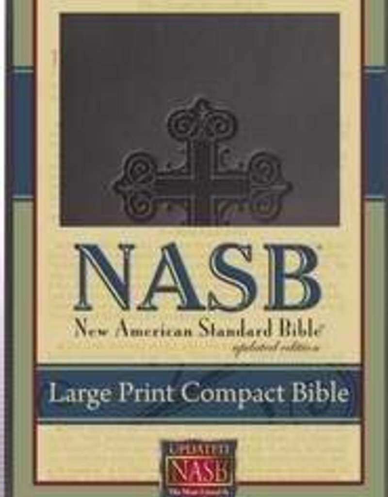 Foundation Publication NASB Large Print Compact Bible-Black Cross Leathertex