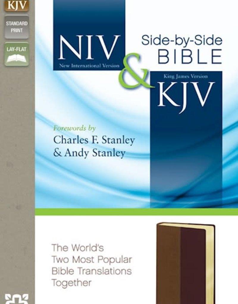 Zondervan NIV & KJV Side-By-Side Bible-Tan/Cherry Duo-Tone