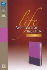 Zondervan NIV Life Application Study Bible, Large Print, Italian Duo-Tone, Dark Orchid-Plum, Indexed