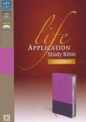 Zondervan NIV Life Application Study Bible, Large Print, Italian Duo-Tone, Dark Orchid-Plum, Indexed