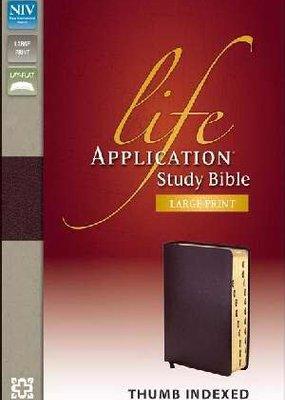 Zondervan NIV Life Application Study Bible Large Print Thumb Index Burgundy Bonded Leather