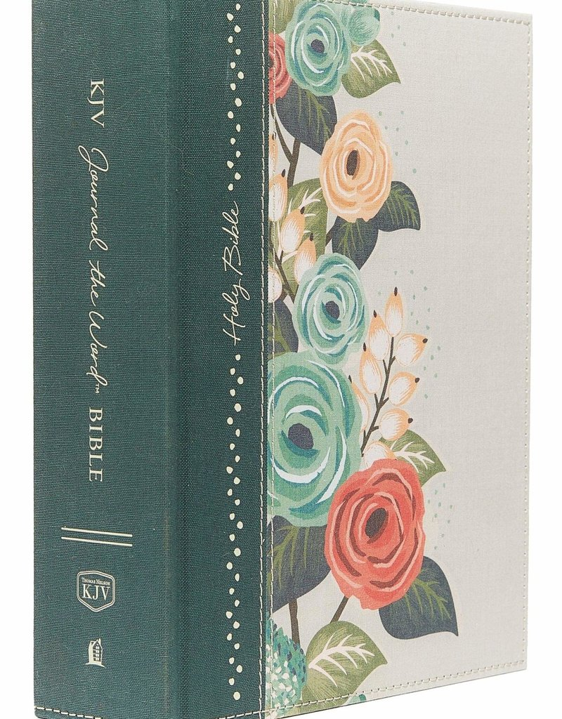 KJV, Journal the Word Bible, Large Print, Cloth over Board, Green Floral, Red Letter Edition: Reflect, Journal, or Create Art Next to Your Favorite Verses Hardcover – Large Print