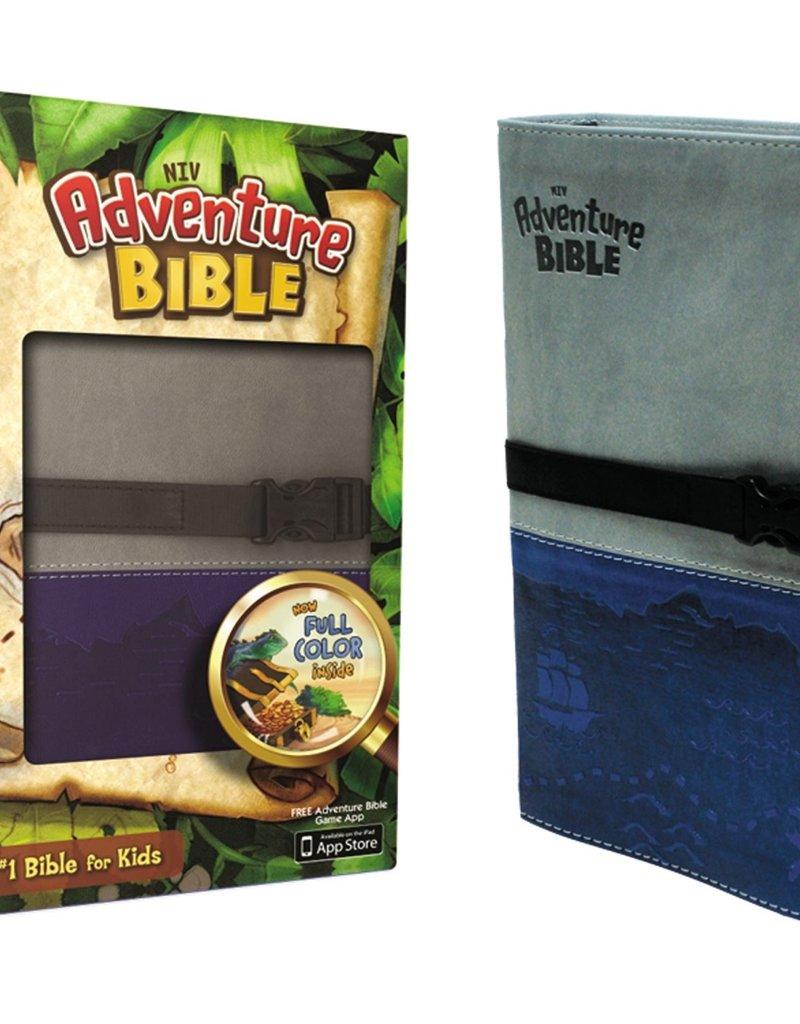 Zondervan NIV Adventure Bible, Italian Duo-Tone, Clip Closure, Gray/Blue