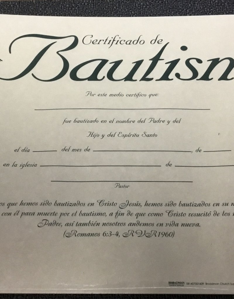 Span - Certificate - Baptism (Parchment) (Certificado De Bautismo) (Pack Of 6)