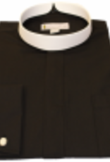 201 Men's Long-Sleeve Full Collar Banded Clergy Shirt - Black