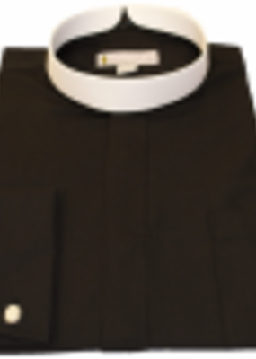201 Men's Long-Sleeve Full Collar Banded Clergy Shirt - Black