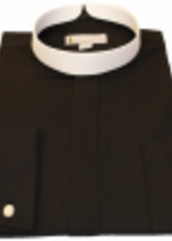201.  Men's Long-Sleeve Full Collar Banded Clergy Shirt - Black
