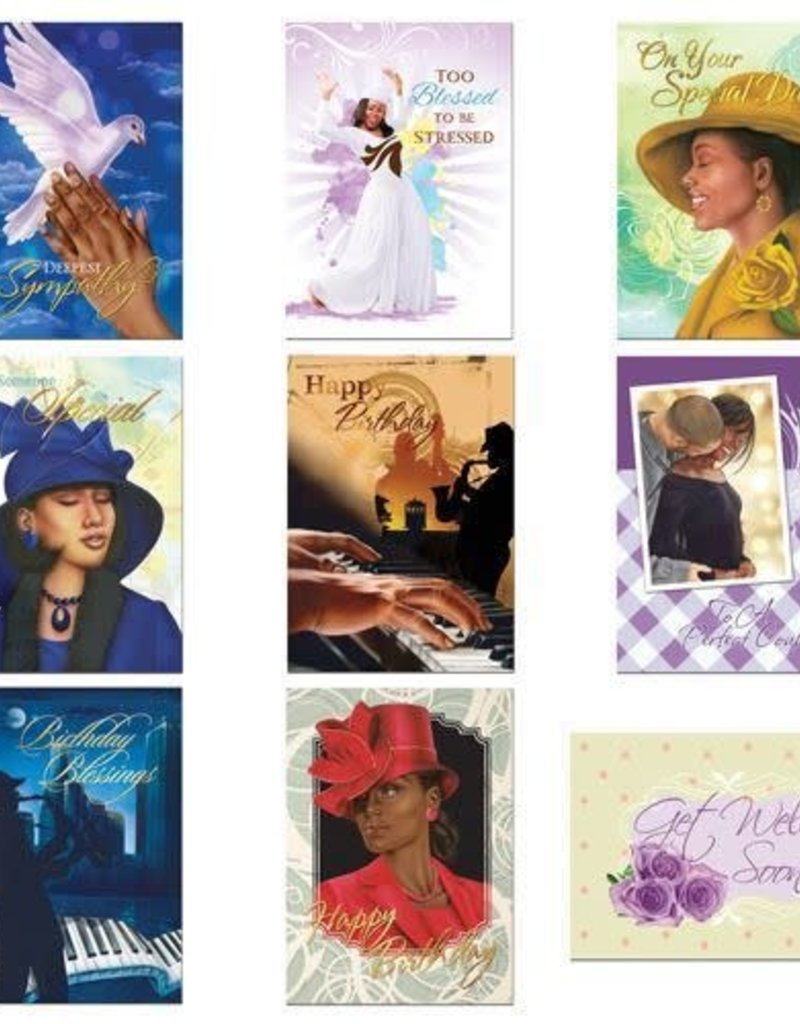 African American Expressions Boxed Cards - All Occasion Assortment Box 10 Green