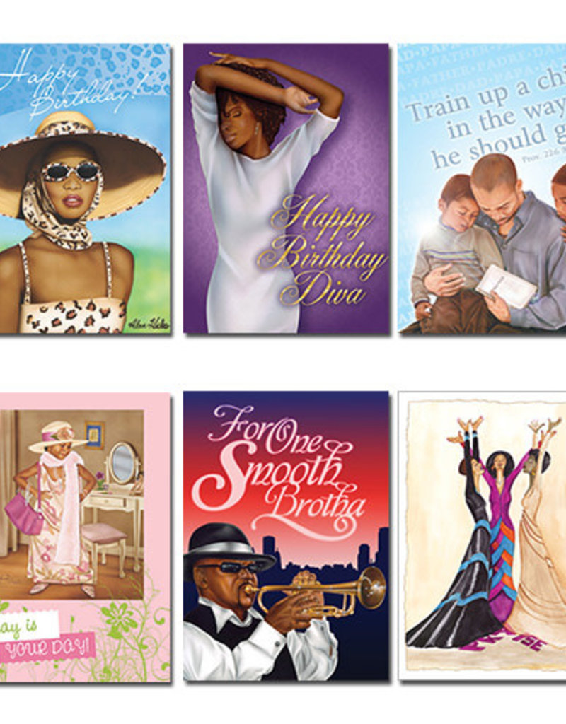 African American Expressions Boxed Cards - All Occasion Assortment 5 Purple