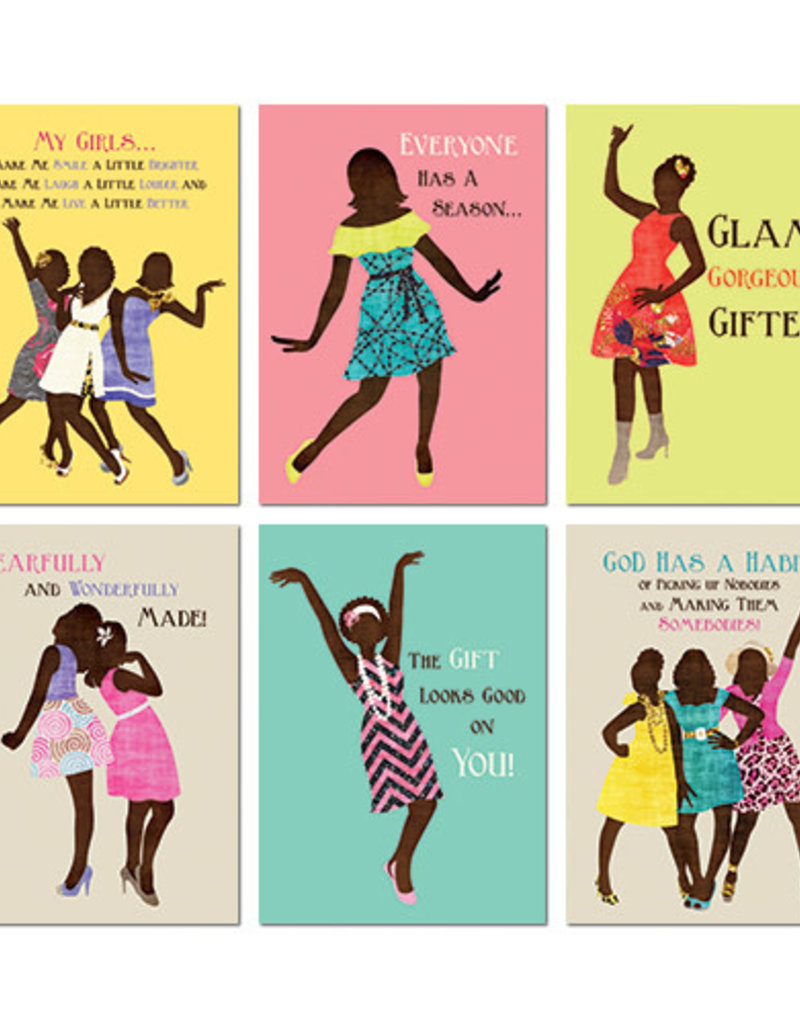 African American Expressions Boxed Cards - AOAB680 All Occasion Sister Friends Assortment Box of 12