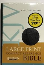 Hendrickson KJV Large Print Compact Reference Bible-Black Bonded Leather w/Magnetic Flap