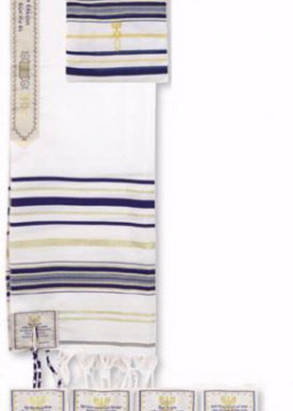 "Prayer Shawl Acrylic (Dk Blue) 15.40 Holy Land Size 22"" 72"" x 22"" With English Corners"