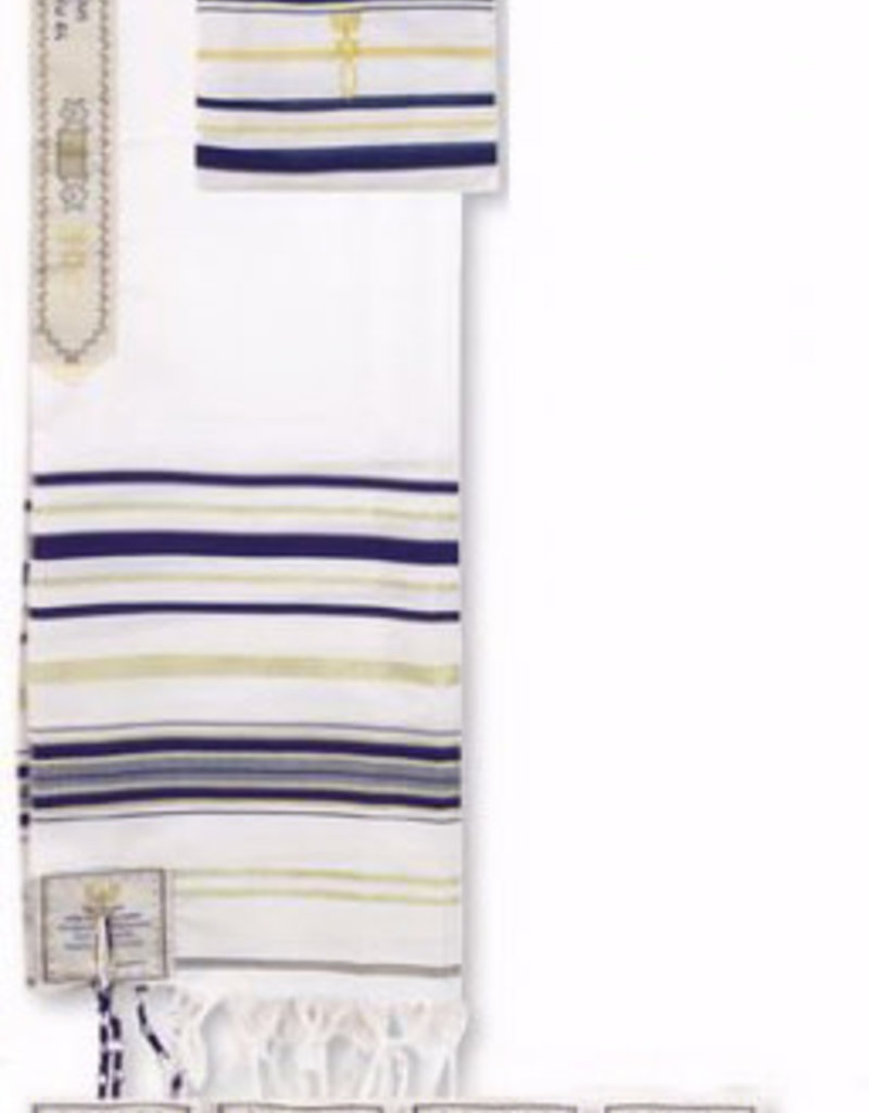 "Prayer Shawl Acrylic (Dk Blue) 15.40 Holy Land Size 22"" 72"" x 22"" With English Corners"