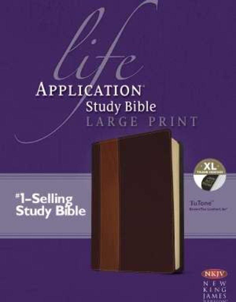 Tyndale NKJV Life Application Study Bible/Large Print-Brown/Tan TuTone Indexed