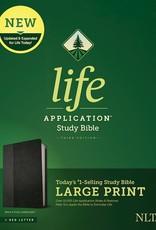 NLT Life Application Study Bible/Large Print (Third Edition) (RL)-Black/Onyx LeatherLike