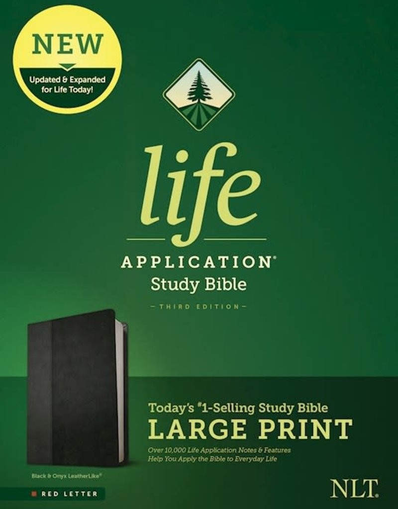 NLT Life Application Study Bible, Third Edition, Large Print (LeatherLike, Black/Onyx, Red Letter)