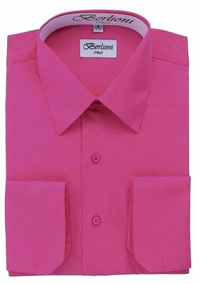 Clergy Shirt Mens long sleeve banded collar fuscia- 18.5 34/35