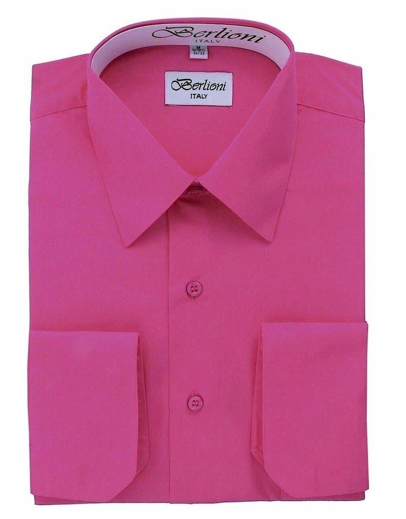 Clergy Shirt Men's long sleeve banded collar fuchsia- 18.5 34/35