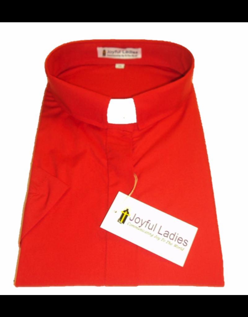 Joyful Clothing 557. WOMEN'S SHORT-SLEEVE TAB-COLLAR CLERGY SHIRT - RED Size 18