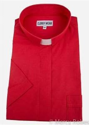 "Men's Short-Sleeve Tab-Collar Clergy Shirt  size 20 1/2""- Red"