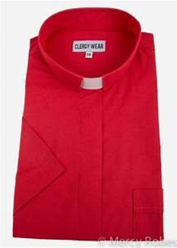 """Men's Short-Sleeve Tab-Collar Clergy Shirt  size 20 1/2""""- Red"""