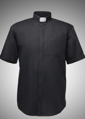 R J Toomey Men' Clergy Shirt - Short Sleeve - Tab Collar - Black (17)