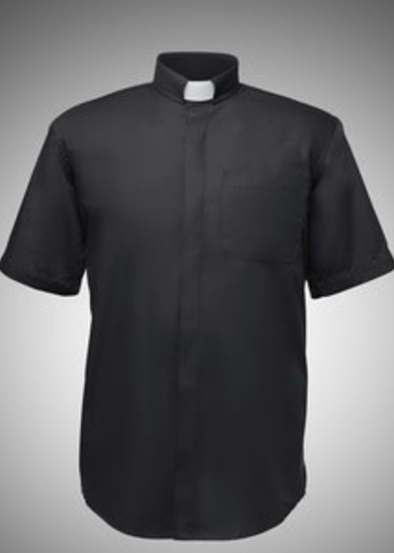 R J Toomey Men' Clergy Shirt - Short Sleeve - Tab Collar - Black (17)