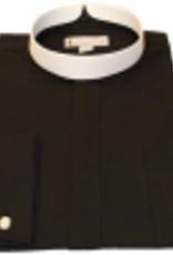 Joyful Clothing 201. Men's Long-Sleeve Full Collar Banded Clergy Shirt  -  Black  18-18.15 XX Large 36-37