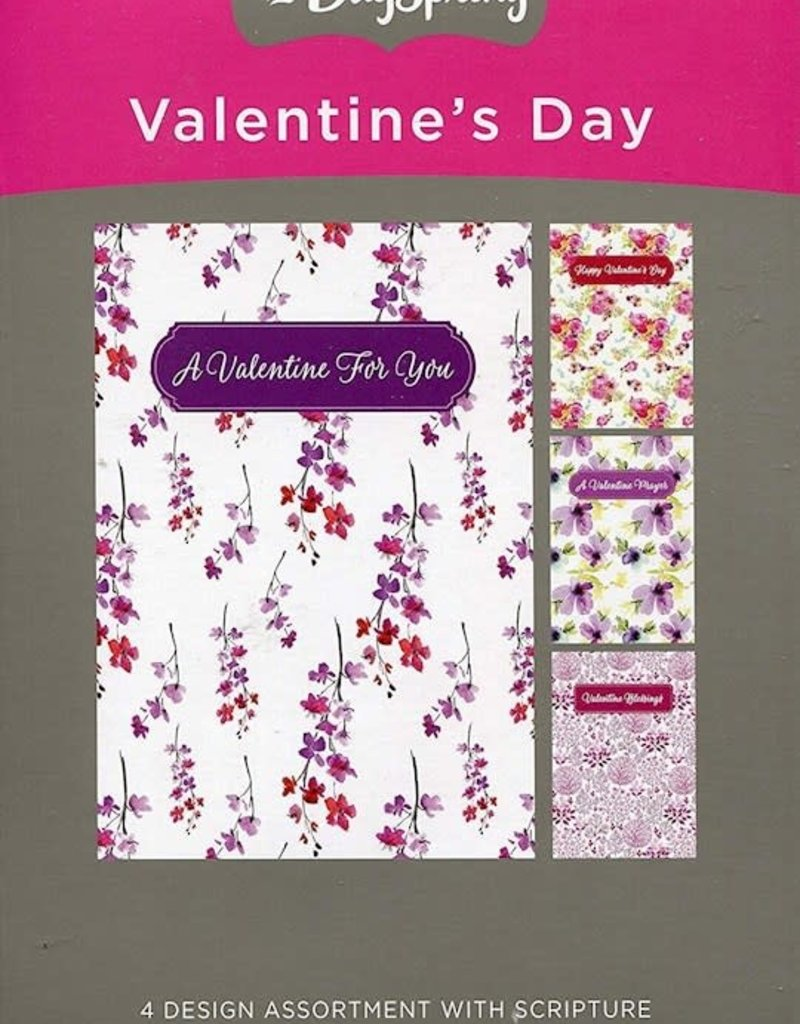 Card-Boxed-Flowers For Valentine Assortment (Adult) (Box Of 12)