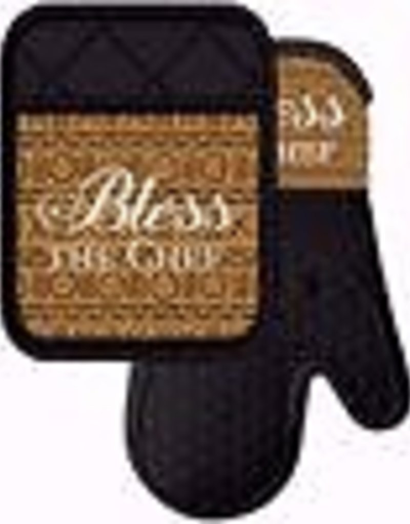 African American Expressions Bless the Chef Mitt-Pot Holder Set