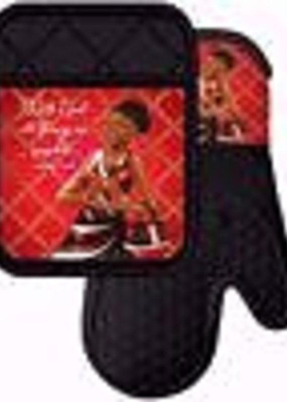African American Expressions Potholder Set Red and Black